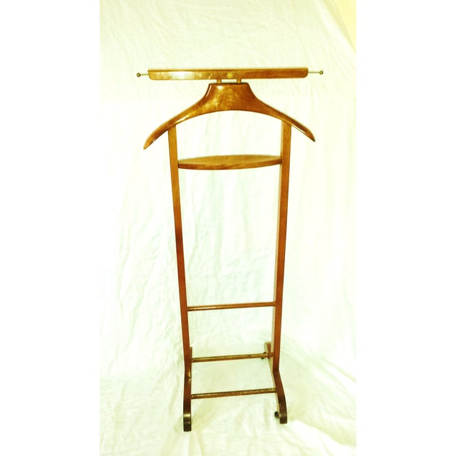 Mid-Century Italian Wooden Valet With Casters - Image 2 of 7