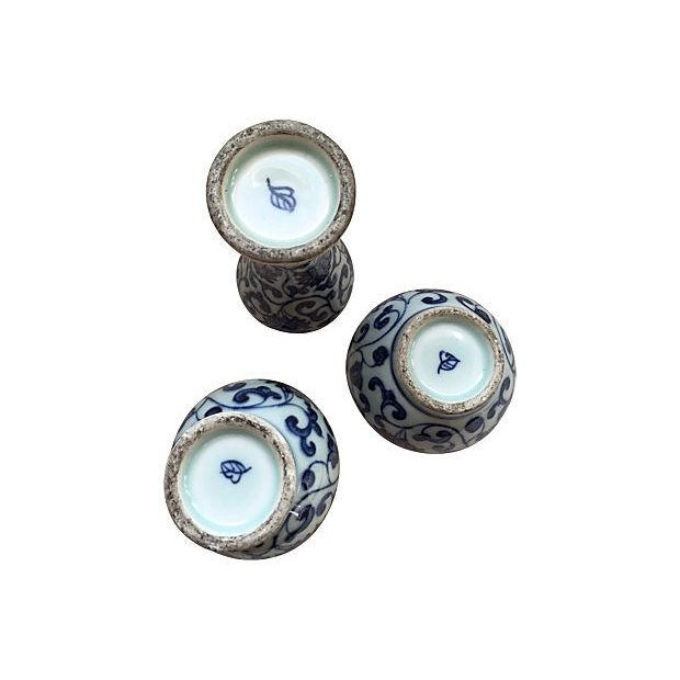 Chinoiserie Blue & White Porcelain Vases - S/3 - Image 2 of 4