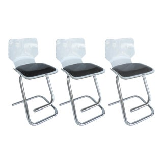 Luigi Bardini Lucite & Chrome Bar Stools - Set of 3