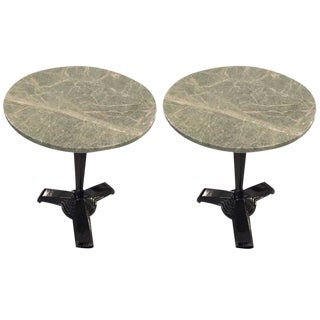 Art Deco Marble-Top Metal Side Tables - A Pair