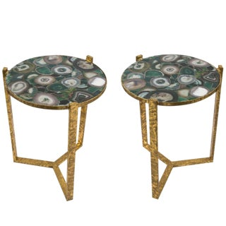 1940s French Gilt Iron & Agate Side Tables - A Pair