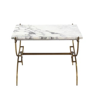 Solid Brass Marble-Top Arch Shape Legs Side Table