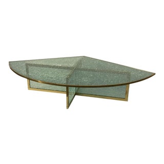 Massive Steve Chase Designed Crackled Glass and Brass Coffee Table