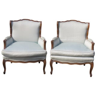 Louis XV Style Walnut Carved Bergeres - A Pair