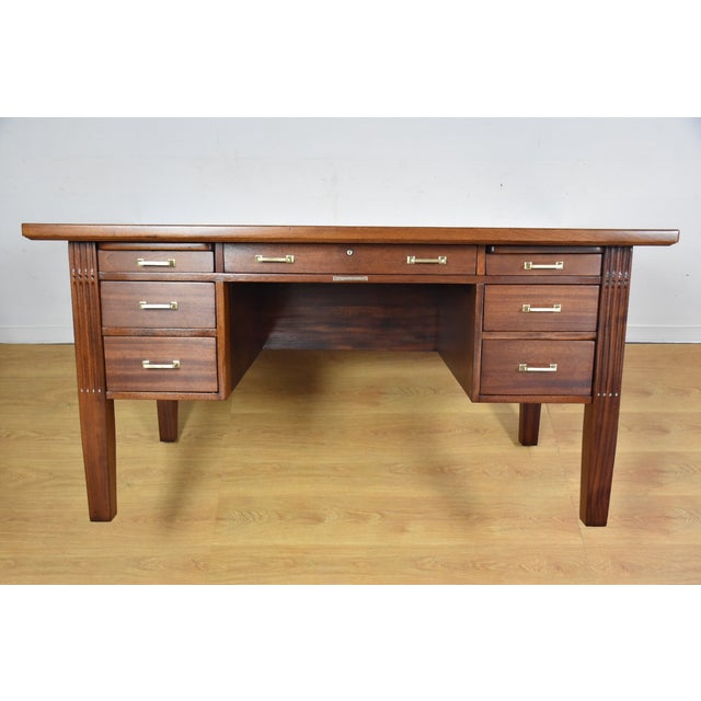 Antique Solid Mahogany Executive Desk - Image 2 of 11