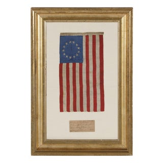 13 HAND-EMBROIDERED STARS AND EXPERTLY HAND-SEWN STRIPES, ON A FLAG MADE BY SARAH M. WILSON, GREAT-GRANDDAUGHTER OF BETSY ROSS, PHILADELPHIA 1904