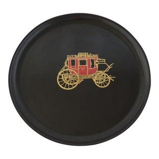 """Couroc """"Wells Fargo Stagecoach"""" Round Serving Tray"""