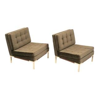 Lee Woodard Slipper Chairs with Walnut & Brass Base - A Pair