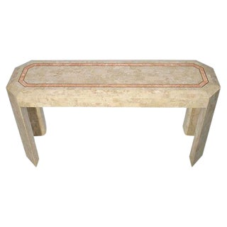 Tessellated Fossil Console Table with Brass Trim