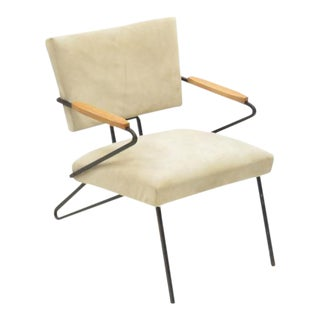 Wrought Iron & Suede Midcentury Armchair