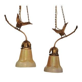 Bronze Ormolu Steuben Glass Shades - A Pair