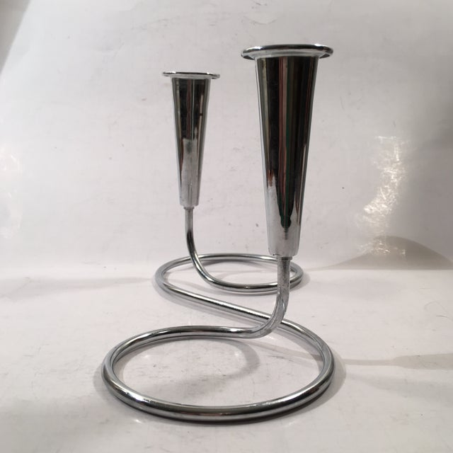 Image of Modern Chrome Candlestick Holder