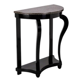 French Demi Lune Ebonised Console with Marble Top