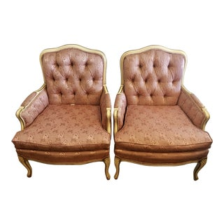 Vintage French Provincial Bergere Chairs - A Pair