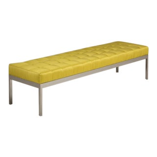 A Milo Baughman Attributed Nickel and Silk Upholstered Bench