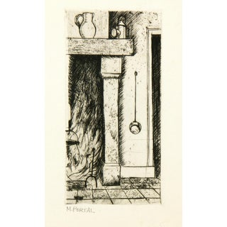 Vintage 1960s Fireplace Etching Print