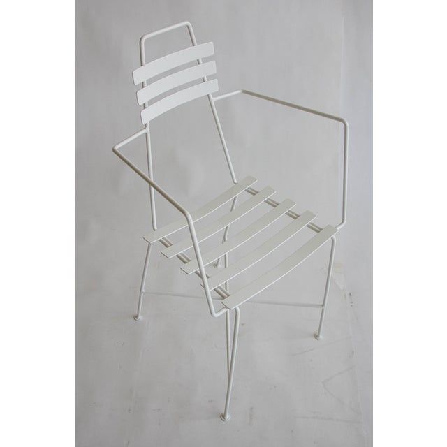 Mid-Century Slatted Wrought Iron Chair - Image 2 of 7