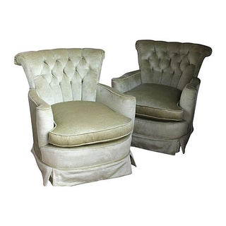 Spring Green Crushed Velvet Club Chairs - Pair