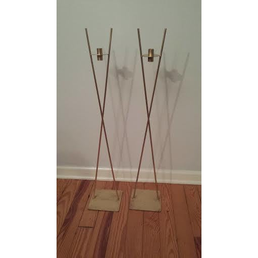 Image of Mid-Century Wrought Iron Candleholders - A Pair
