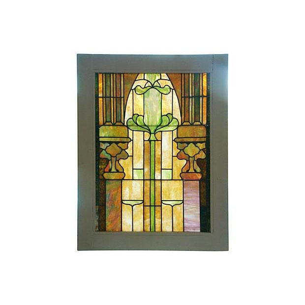 Antique Architectural Stained Leaded Glass Window - Image 2 of 5