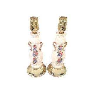 American Art Deco Floral Ceramic Lamps - Pair