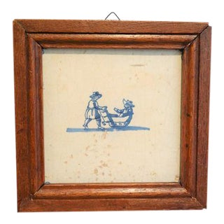 Antique Dutch Delft Framed Tile with Sledders