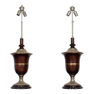 Pair of Neoclassical Table Lamps In Mahogany & Nickel Plated, Mexican Modernist