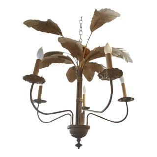 Vintage Metal Tropical Hollywood Regency Palm Tree Frond Leaf Chandelier