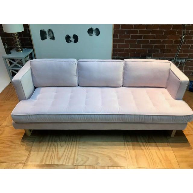 Modern Light Pink Velvet Sofa - Image 5 of 5