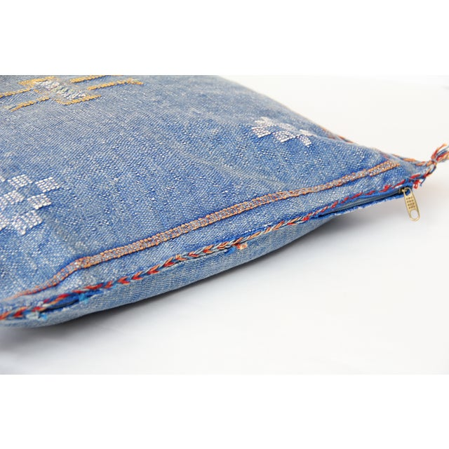 Blue & Yellow Moroccan Cactus Pillows - A Pair - Image 5 of 7