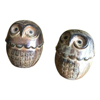 Vintage Owl Salt & Pepper Shakers - A Pair