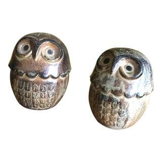 Vintage Owl Salt & Pepper Shakers - A Pair