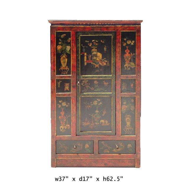 Tibetan Red Black Flower Graphic Storage Cabinet - Image 6 of 6