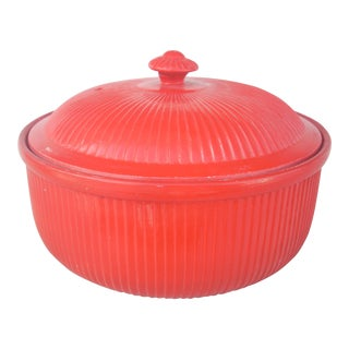 Hall Chinese Red Ribbed Covered Casserole