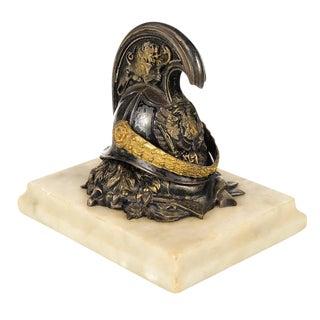 Antique French Bronze Cuirassier Helmet Ink Well