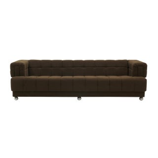 Even Arm Tufted Chesterfield Sofa, 1970s, New Upholstery, Very Comfortable