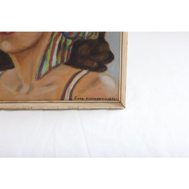 Vintage Portrait of Woman Oil Painting - Image 4 of 7