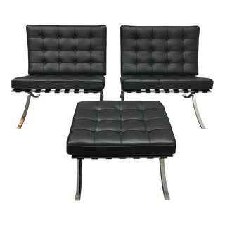 Ludwig Mies van der Rohe Barcelona Chairs With Ottoman - Set of 3