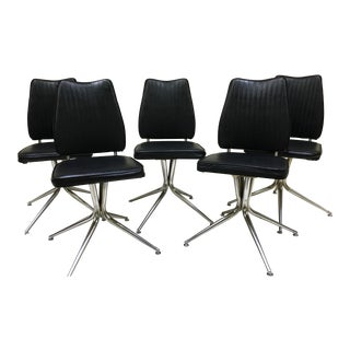 Black and Chrome Swivel Base Mid-Century Chairs - Set of 5