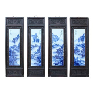 Chinese Blue & White Porcelain Scenery Wall Panels - Set of 4