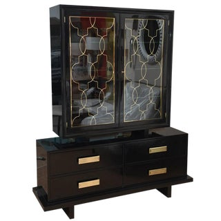 Hollywood Regency Grosfeld House Black Lacquer, Brass and Glass Cabinet