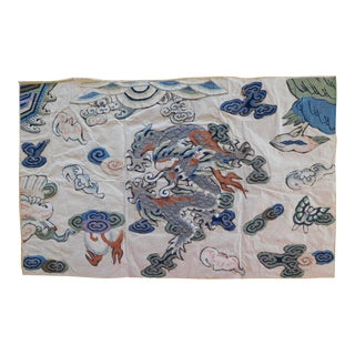 Antique Chinese Hand Embroidered Appliqued Dragon Motif Textile