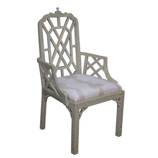 Hollywood Regency Chinese Chippendale Arm Chair