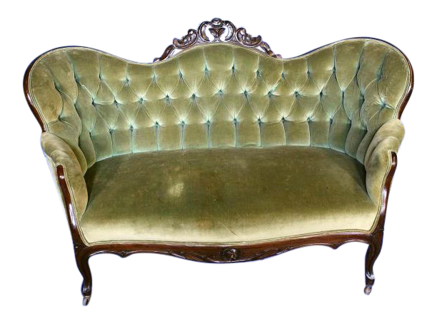 Antique Victorian Tufted Carved Loveseat