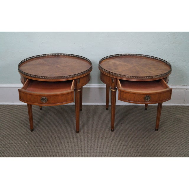 Image of Henredon French Louis XVI Walnut Tables - A Pair