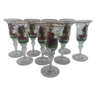 Dutch Enameled Cordial Goblets Windmills Set of 9