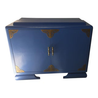 Asian Athens Blue & Brass Cabinet