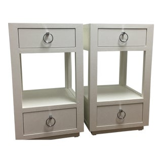 Bungalow 5 Camilla White Lacquered Grasscloth Side Tables - A Pair