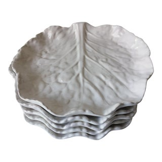 Bordallo Pinheiro White Majolica Leaf Plates - Set of 5