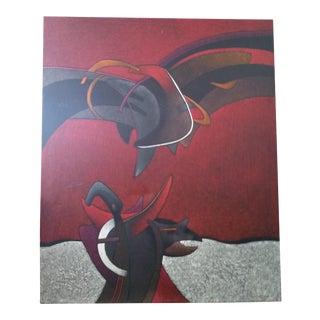 'Milton Estrella Gavidia-Fampus Rojo Y Negro' Cut Impasto Modern Painting
